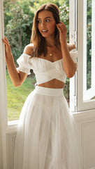 Elegant Off Shoulder White Tie-Up Ruffle Crop Top