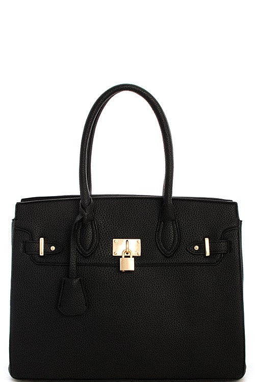 Elegant Black Padlock Top Handle Tote Bag Set