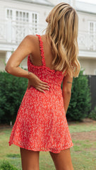 Fashion Ruffle Strap Red Floral Print Summer Dress