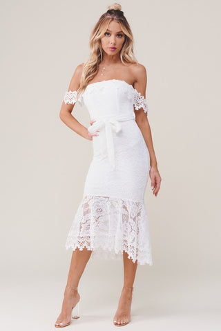 Elegant Off Shoulder White Lace Tie-Up Ruffle Maxi Dress