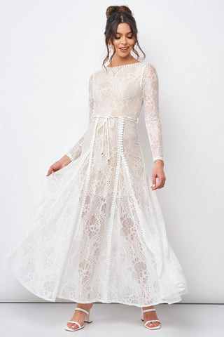Fashion White Lace Tie-Up Open Back Maxi Dress with Long Sleeve