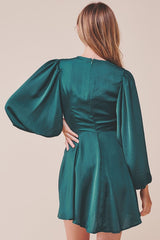 Elegant Forest Green Satin Deep V-Neck Tie-Up Ruffle Dress with Puffy Long Sleeve