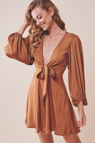 Elegant Tan Satin Deep V-Neck Tie-Up Ruffle Dress with Puffy Long Sleeve
