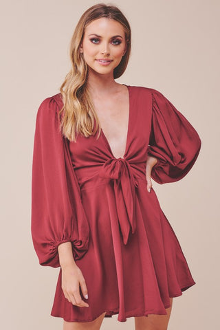 Elegant Wine Satin Deep V-Neck Tie-Up Ruffle Dress with Puffy Long Sleeve