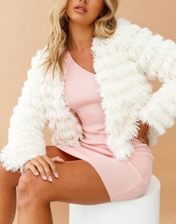 Fashion White Faux Furry Jacket