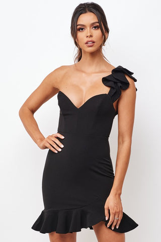Elegant Black One Shoulder Detailed Ruffle Bodycon Dress