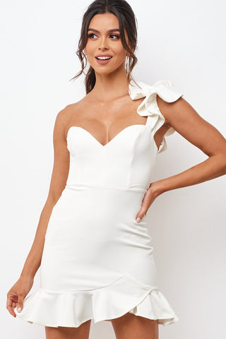 Elegant White One Shoulder Detailed Ruffle Bodycon Dress