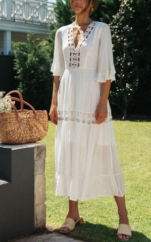 Fashion Summer White Crochet Embroidery Back Tie-Up Maxi Dress
