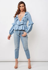 Fashion Summer Blue Deep V-Neck Ruffle Top with Bell Sleeve Tie-Up