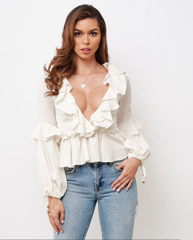 Fashion Summer White Deep V-Neck Ruffle Top with Bell Sleeve Tie-Up
