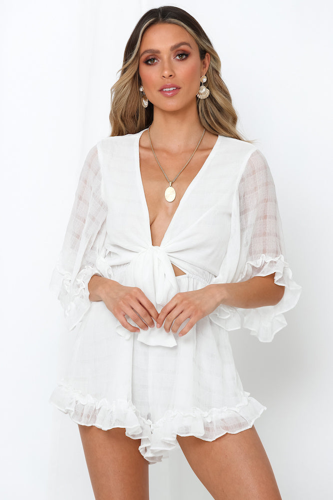 Fashion White Deep V-Neck Tie-Up Ruffle Romper