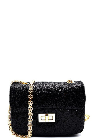 Fashion Black Glitter Handbag