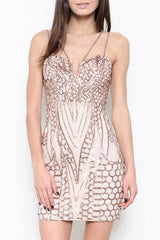 Elegant Rose Gold Sequence Cocktail Short Dress