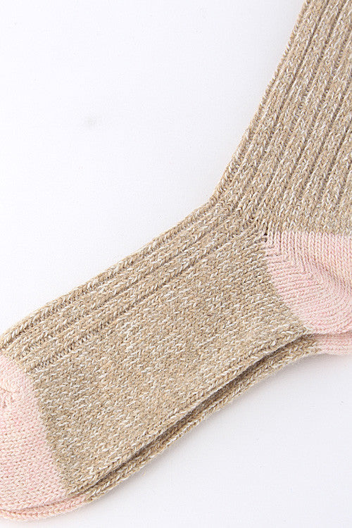 Casual Beige Two Tone Knitted Mid Socks