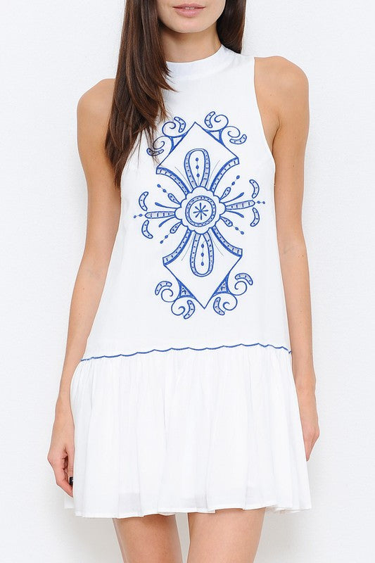 Fashion Summer Blue Embroidery White Dress