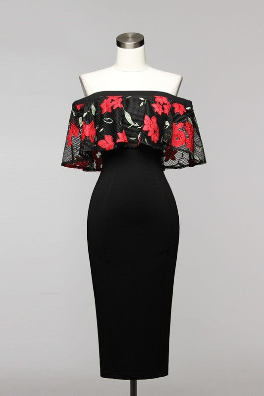 Elegant Off-Shoulder Red Floral Black Dress