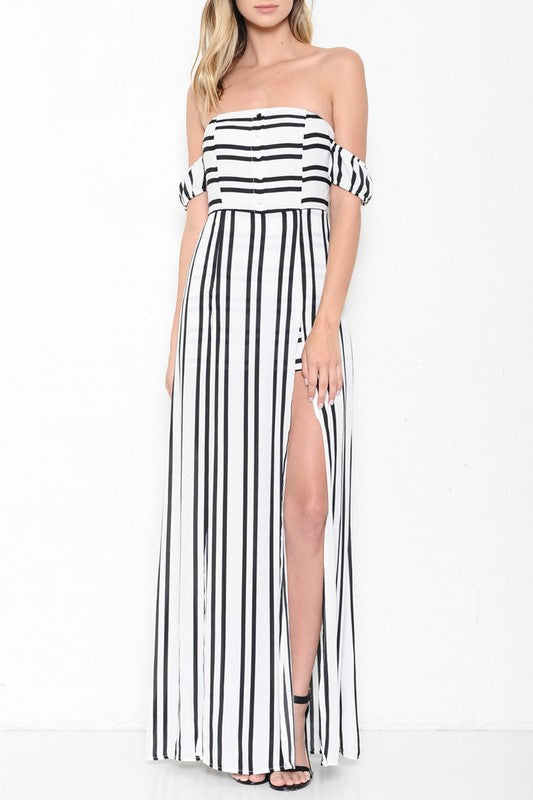 Fashion Contrast Striped Off Shoulder Maxi Romper