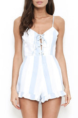 Fashion Marine Striped Lace-Up Romper