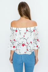 Fashion Off Shoulder Floral Embroidery Top