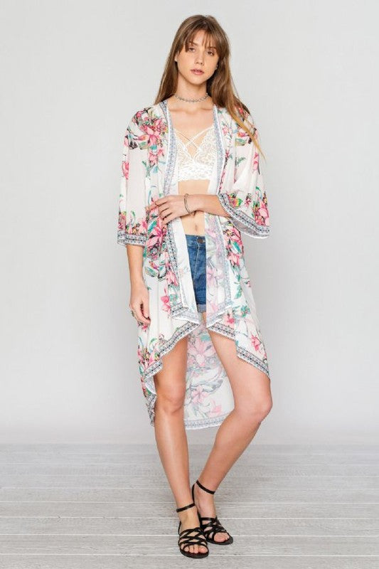 Fashion Summer Floral Print Multi-Color Cardigan