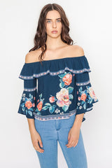 Fashion Off Shoulder Floral Navy Top With Bell Sleeve