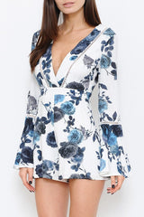 Elegant Fashion Blue White Floral V-Neck Romper