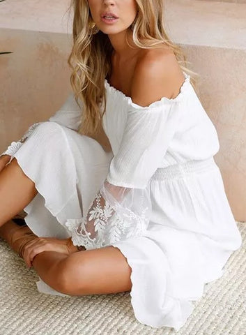 5f01e87416b74 Elegant Off Shoulder White Lace Detailed Bell Sleeve Maxi Dress