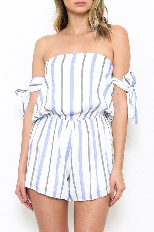 Fashion Off-Shoulder Stripe Blue Marine Romper