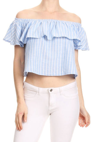 Fashion Summer Off Shoulder Ruffle Marine Blue Crop Top