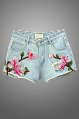 Summer Embroidered Light Denim Short With Orchideas