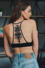 Embroidered Black Bralette