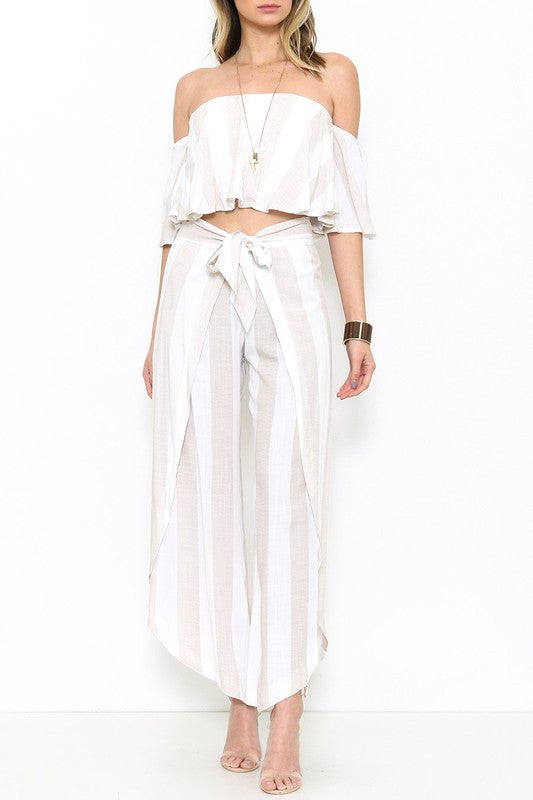 Summer Beige Marine Cut Out Pants