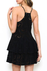 Fashion Summer Black Lace Detail Dress