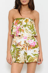 Tropical Print Ruffle Strapless Summer Romper