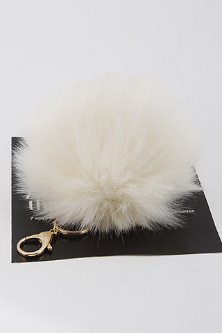 White Mink Pom Pom Gold Key Chain