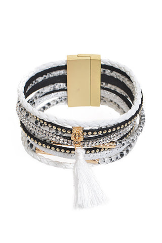Fashion White Rhinestone Layered Bracelet with Tassel