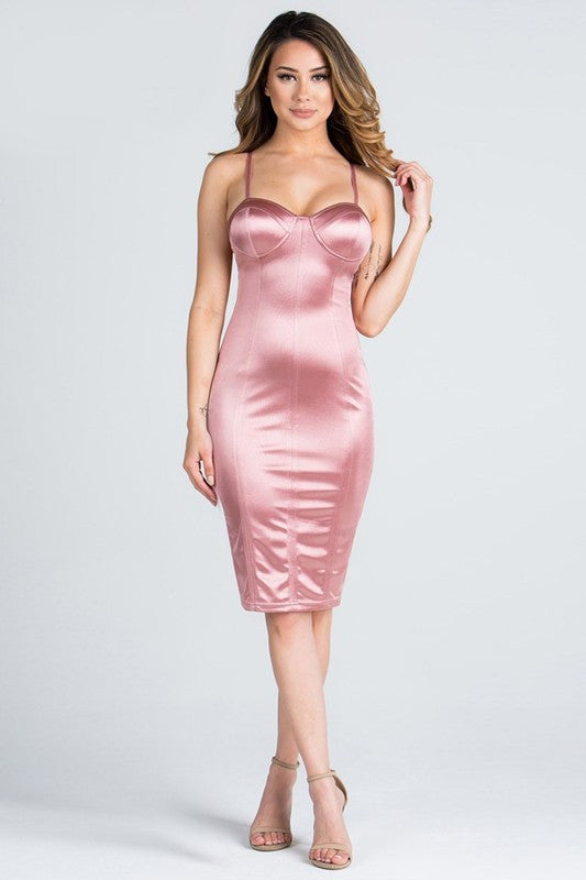 Elegant Satin Bustier Fitted Cocktail Mauve Dress