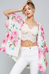 Fashion Summer Floral Print Pink Cardigan