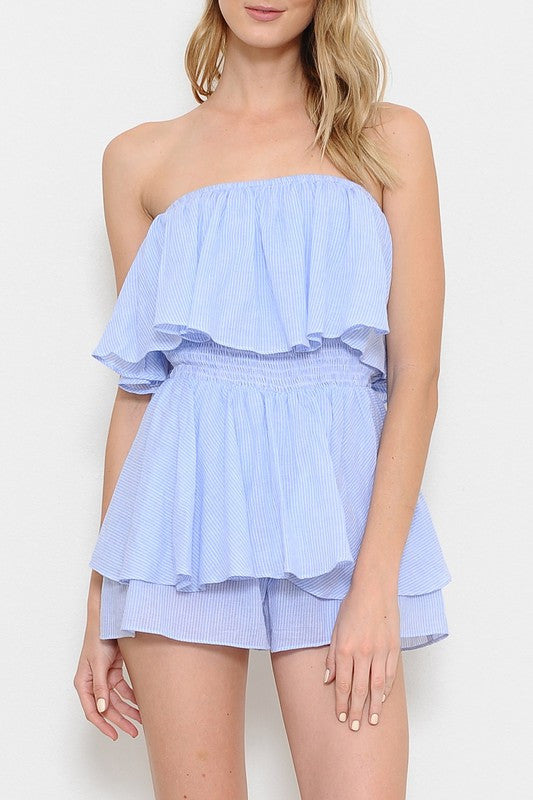 Summer Marine Ruffle Light Blue Romper