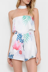 Fashion Ruffle Strapless Multi Color Leaf Print Romper