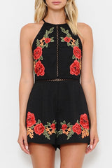 Summer Rose Embroidery Black Romper