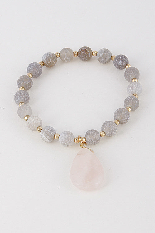 Elegant Bead Grey Pink Bracelet With Stone