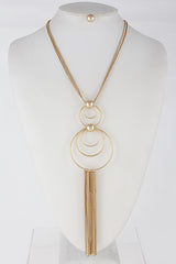 Elegant Long Necklace With Multi Circle