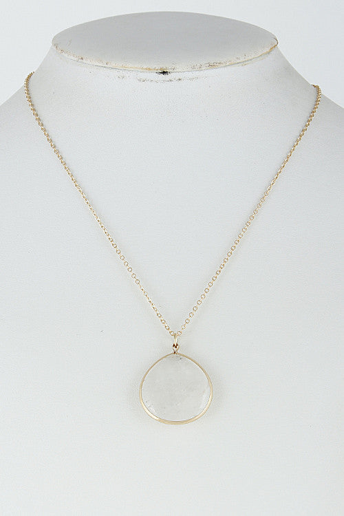 Elegant Tear Drop Long Gold White Necklace