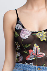 Fashion Floral Embroidery Black Mesh Bodysuit