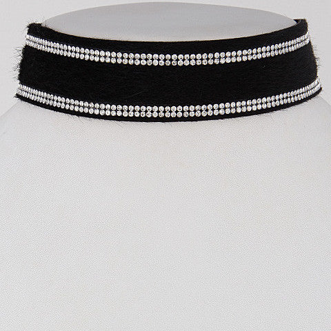 Elegant Black Choker Necklace With Rhinestone