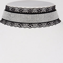 Elegant Choker Black Necklace With Lace And Rhinestones