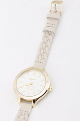 Classic Beige Watch with Braided Strap
