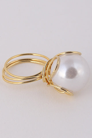Elegant Golden Wrapped Pearl Gold Ring