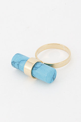 Elegant Blue Gold Stone Bar Ring